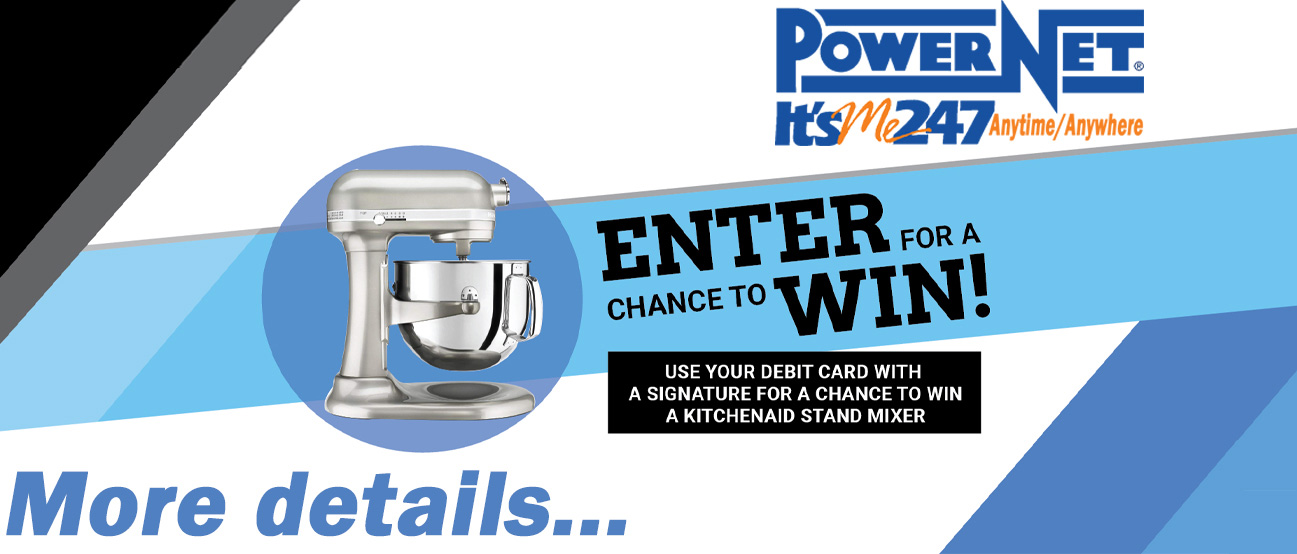 Use your debit card with a signature for a chance to win a kitchaid stand mixer.